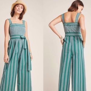 Anthropologie Green & White Stripe Linen Jumpsuit